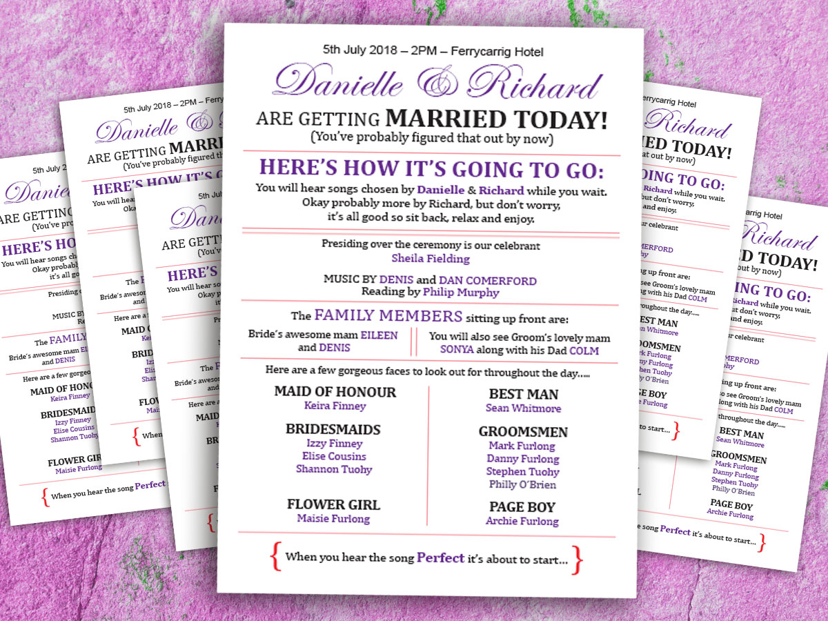 Wedding Ceremony Sheets